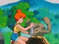 Misty polishing Geodude.png